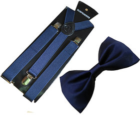 Ws deal navy blue Suspender And navy blue Bow (combo)