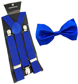 Ws deal royal blue Suspender And Bow tie (combo)
