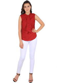 New Fashion Life Style Woman Round Neck Red Plain Summer Cool Crepe On Solder Astin Fitted Top