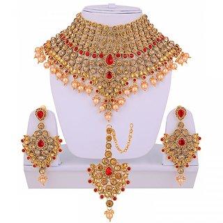 Golden Red Bridal Dulhan Necklace set With Mang Tikka