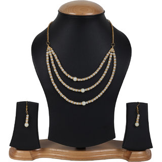 Penny Jewels Alloy Party Wear  Wedding Stylish Simple Fancy Necklace Set With Earring For Women  Girls