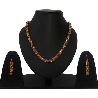 Lishaz Gold Plated Diamond Necklace Earring Party Jewelry Set