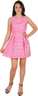 New Fashion Life Style Woman Round Neck Pink/White Summer Cool Crepe On Solder Fitted Dress