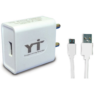 YTI 1.5A. USB Adapter with cable (1 mtr) for Micromax Q340 Canvas Selfie 2
