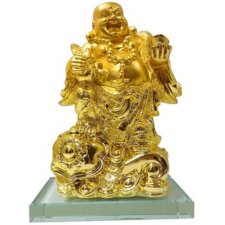 Starstell Fengshui Golden Laughing Buddha with Money Ingot on Glass Slab