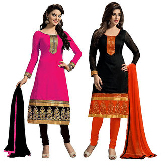 Combo of Black Pink Beelee Typs Cotton Unstitched Dress Material