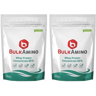 Advance Nutratech Bulkamino Whey Protein Concentrate 80 Raw Protein 2Kg(4.4Lbs) (Pack Of 2 X 1Kg) Supplement Powder(Pa