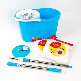 Best Homes 360 Spin Floor Cleaning Easy Magic Plastic Bucket Mop with 2 Microfiber Heads(Color May Vary)