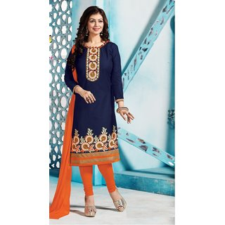 Grapsy fashion Blue Cotton Embroidered Salwar Suit Material Dress Material (Unstitched)