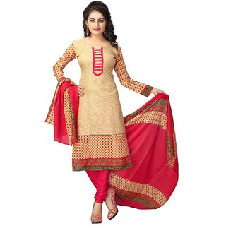 Vaamsi Beige Poly Cotton Printed Dress Material