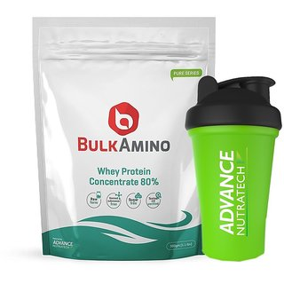 Advance Nutratech BulkAmino Whey Concentrate 80 Powder 500gram(1.1lbs) Unflavoured + Free Shaker