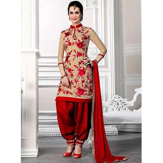 Thankar Cream  Red Printed Pollycotton  Dress Mateirial