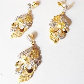 Buy Gold Polish Pendant Earring set flower design Online   ₹1500 from  ShopClues 8ca2d1420211