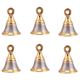 Smart Shophar 6 Pcs Decorative Brass Pooja Room Bells With Hook 1.5 Inches