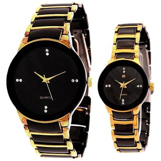 best iik gold black analog watch combo for couple.
