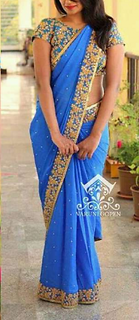 1Haze Blue Cotton Badge Saree With Blouse