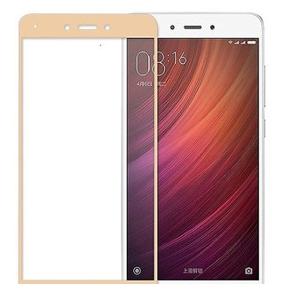 Full Coverage Edge To Edge Tempered Glass Scree Protector For Redmi Note 4 (Full Glass Gold)