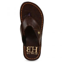 Buwch Dark Brown Leatherite Slippers For Men