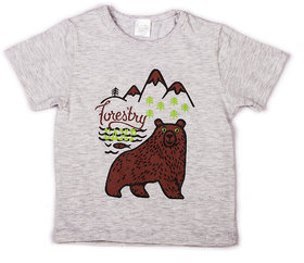 Light Grey Melange with chest printed infant boys t shirt
