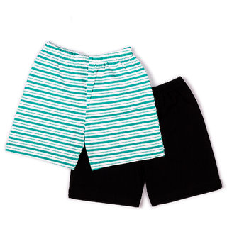 2 Pack Green Stripe Printed And Solid Shorts