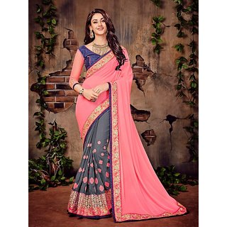 Meia Pink Georgette Embroidered Saree With Blouse