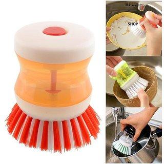 UniStore Plastic Cleaning Brush With Liquid Soap Dispenser, Self Dispensing Cleaning Brush assorted colour