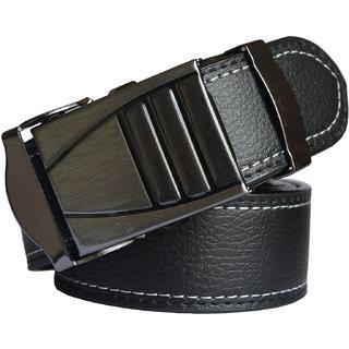 Men Black Leatherite Belt (Synthetic leather/Rexine)