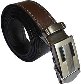 Ws Deal Brown Formal Auto Lock Buckle Belt with double stitching buckle design could be vary