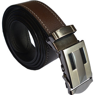 Ws Deal Brown Formal Auto Lock Buckle Belt with double stitching buckle design could be vary (Synthetic leather/Rexine)