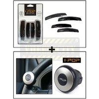 Combo Of Mini Ipop Steering Knob  Black Ipop Door Guard