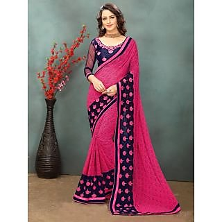 onlinefayda Pink Georgette Embroidered Saree With Blouse