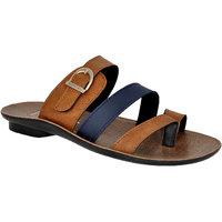 Allen Cooper Men's Tan And Blue Slip On Sandal