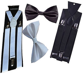 Ws deal unisex black and white stretchable suspender with bow combo