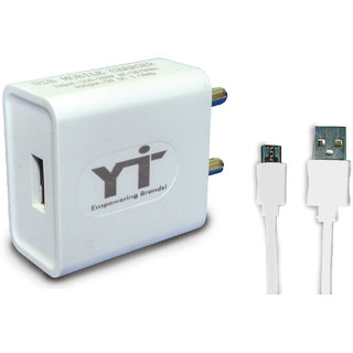 YTI USB Charger 1.5A with (1 mtr) Data Cable for all Smart Phones Mobile Charger  (White)