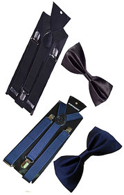 Ws deal unisex black and navy blue stretchable suspender with bow combo