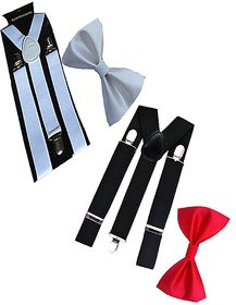 Ws deal unisex white and black stretchable suspender with bow combo