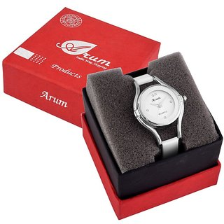 Arum special White Silver Round Ladies Watch ASWW-006