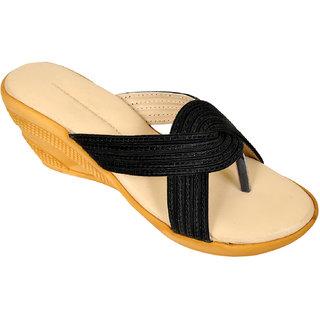 Altek Smooth Comfy Black Wedges for Women (foot-1323-black-p150)
