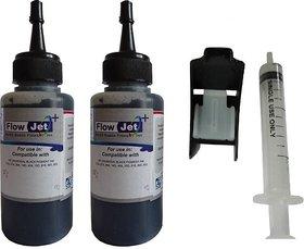 Flowjet 2 BOTTLES WITH SYRINGE FOR REFILLING OF HP,CANON,BROTHER INK CARTRIDGES Single Color Ink  (Black)