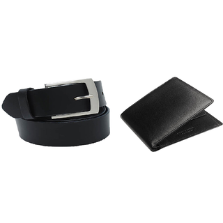Deal Combo of Black Belt and Black Wallet-Pack of 2 Pcs (BLBLBW) (Synthetic leather/Rexine)