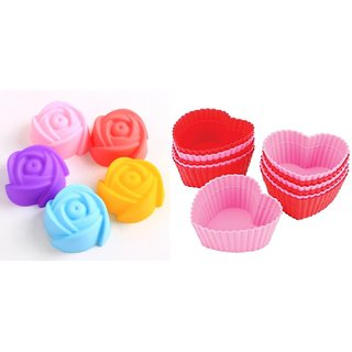 COMBO OF SILICONE HEART SHAPE AND ROSE SHAPE BAKEWARE CAKE, MUFFINS TART AND CUP CAKE MOULDS - SET OF 6PCS