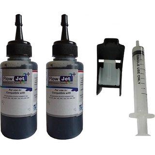 Flowjet 2 BOTTLES WITH SYRINGE FOR REFILLING OF HP,CANON,BROTHER INK CARTRIDGES Single Color Ink  Black