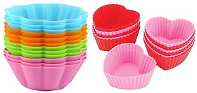 COMBO OF SILICONE HEART SHAPE AND FLOWER SHAPE BAKEWARE CAKE, MUFFINS TART AND CUP CAKE MOULDS - SET OF 6PCS