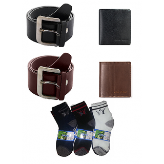 Deal Combo of Brown,Black Belt and Brown,Black Wallet with 3 Pair Socks (BRBWBLBWS) (Synthetic leather/Rexine)