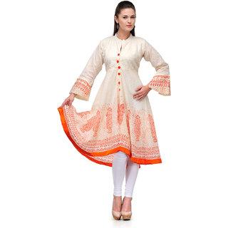 White Anarkali Kurti with Orange Embroidery