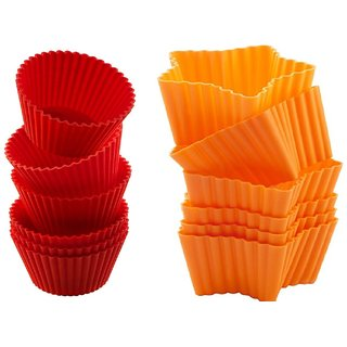 COMBO OF SILICONE ROUND SHAPE AND STAR SHAPE BAKEWARE CAKE, MUFFINS TART AND CUP CAKE MOULDS - SET OF 6PCS