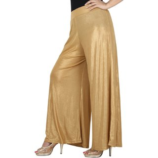 KriSo regular fit women's palazzo golden colour (free size)