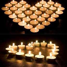 PujaShoppe Pack of 50 White Tealight t-lite Tea Light Candles for Diwali Birthday Party