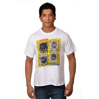 Nirvana Mens Four Faces White Round Neck Half Sleeves Cotton Tshirt