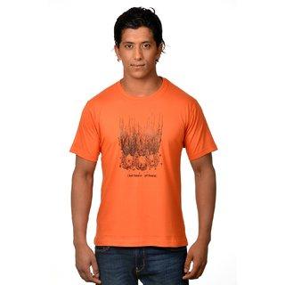 Nirvana Mens Seek Liberation Orange Round Neck Half Sleeves Cotton Tshirt